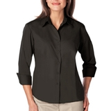 Women's 3/4 Sleeve Easy Care Poplin With Matching Buttons Black Thumbnail