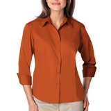 Women's 3/4 Sleeve Easy Care Poplin With Matching Buttons Burnt Orange Thumbnail