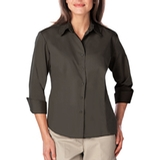 Women's 3/4 Sleeve Easy Care Poplin With Matching Buttons Graphite Thumbnail
