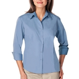 Women's 3/4 Sleeve Easy Care Poplin With Matching Buttons Light Blue Thumbnail