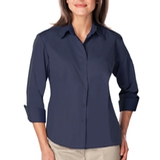 Women's 3/4 Sleeve Easy Care Poplin With Matching Buttons Navy Thumbnail