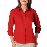 Women's 3/4 Sleeve Easy Care Poplin With Matching Buttons Red Thumbnail