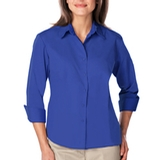 Women's 3/4 Sleeve Easy Care Poplin With Matching Buttons Royal Thumbnail
