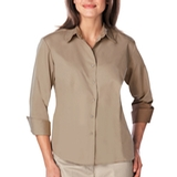 Women's 3/4 Sleeve Easy Care Poplin With Matching Buttons Tan Thumbnail