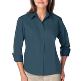 Women's 3/4 Sleeve Easy Care Poplin With Matching Buttons Teal Thumbnail
