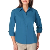 Women's 3/4 Sleeve Easy Care Poplin With Matching Buttons Turquoise Thumbnail