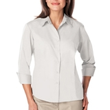 Women's 3/4 Sleeve Easy Care Poplin With Matching Buttons White Thumbnail