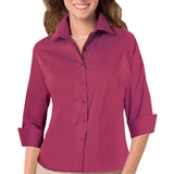 Women's 3/4 Sleeve Stretch Poplin Shirt Berry Thumbnail