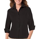 Women's 3/4 Sleeve Stretch Poplin Shirt Black Thumbnail