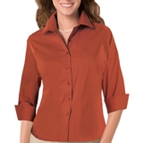 Women's 3/4 Sleeve Stretch Poplin Shirt Burnt Orange Thumbnail