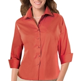Women's 3/4 Sleeve Stretch Poplin Shirt Coral Thumbnail
