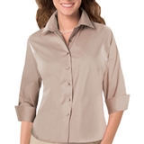 Women's 3/4 Sleeve Stretch Poplin Shirt Natural Thumbnail