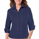 Women's 3/4 Sleeve Stretch Poplin Shirt Navy Thumbnail