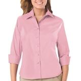 Women's 3/4 Sleeve Stretch Poplin Shirt Pink Thumbnail