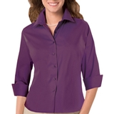 Women's 3/4 Sleeve Stretch Poplin Shirt Purple Thumbnail