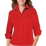 Women's 3/4 Sleeve Stretch Poplin Shirt Red Thumbnail