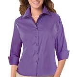 Women's 3/4 Sleeve Stretch Poplin Shirt Violet Thumbnail