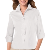 Women's 3/4 Sleeve Stretch Poplin Shirt White Thumbnail