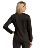 Women's All Day Snap Front Warm Up Scrub Jacket Black (BKMST) Thumbnail