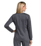 Women's All Day Snap Front Warm Up Scrub Jacket Steel (STMST) Thumbnail