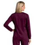 Women's All Day Snap Front Warm Up Scrub Jacket Wine Thumbnail