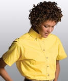 Women's Button Down Poplin Shirt SS Yellow Thumbnail