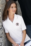 Women's Johnny Collar Jersey Polo Shirt With Pencil Stripe Thumbnail
