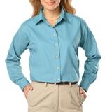 Women's Long Sleeve Easy Care Poplin Aqua Thumbnail