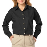 Women's Long Sleeve Easy Care Poplin Black Thumbnail