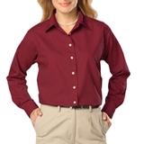 Women's Long Sleeve Easy Care Poplin Burgundy Thumbnail