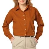 Women's Long Sleeve Easy Care Poplin Burnt Orange Thumbnail