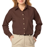 Women's Long Sleeve Easy Care Poplin Chocolate Thumbnail