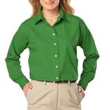 Women's Long Sleeve Easy Care Poplin Kelly Thumbnail