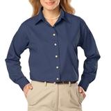 Women's Long Sleeve Easy Care Poplin Navy Thumbnail