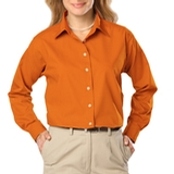 Women's Long Sleeve Easy Care Poplin Orange Thumbnail
