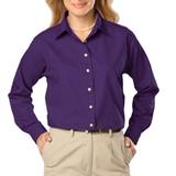 Women's Long Sleeve Easy Care Poplin Purple Thumbnail