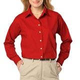 Women's Long Sleeve Easy Care Poplin Red Thumbnail