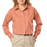 Women's Long Sleeve Easy Care Poplin Salmon Thumbnail
