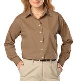 Women's Long Sleeve Easy Care Poplin Tan Thumbnail