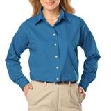 Women's Long Sleeve Easy Care Poplin Turquoise Thumbnail