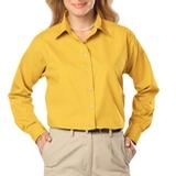 Women's Long Sleeve Easy Care Poplin Yellow Thumbnail