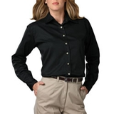 Women's Long Sleeve Teflon Treated Twill Shirt Black Thumbnail