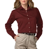 Women's Long Sleeve Teflon Treated Twill Shirt Burgundy Thumbnail