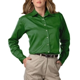 Women's Long Sleeve Teflon Treated Twill Shirt Kelly Thumbnail
