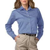 Women's Long Sleeve Teflon Treated Twill Shirt Light Blue Thumbnail