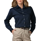 Women's Long Sleeve Teflon Treated Twill Shirt Navy Thumbnail