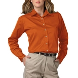 Women's Long Sleeve Teflon Treated Twill Shirt Orange Thumbnail