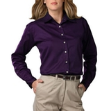 Women's Long Sleeve Teflon Treated Twill Shirt Purple Thumbnail
