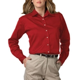 Women's Long Sleeve Teflon Treated Twill Shirt Red Thumbnail