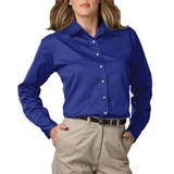 Women's Long Sleeve Teflon Treated Twill Shirt Royal Thumbnail